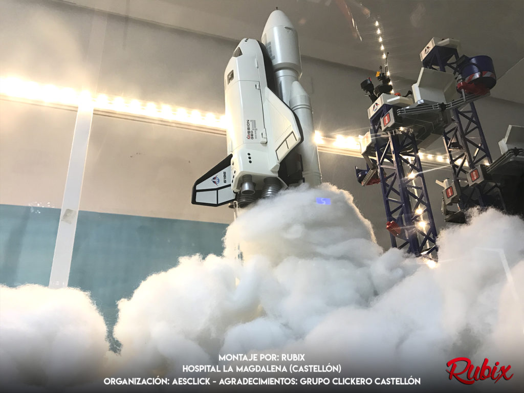Diorama lanzamiento espacial nasa playmobil